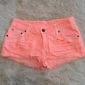 CARMAR Neon Peach Denim Shorts